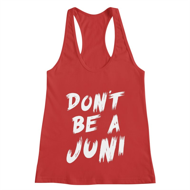 Juni Tee (White Text) Women's Racerback Tank by So Yesterday