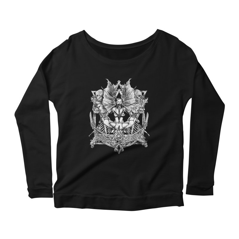 Knife skull picnic Women's Scoop Neck Longsleeve T-Shirt by Sp3ktr's Artist Shop