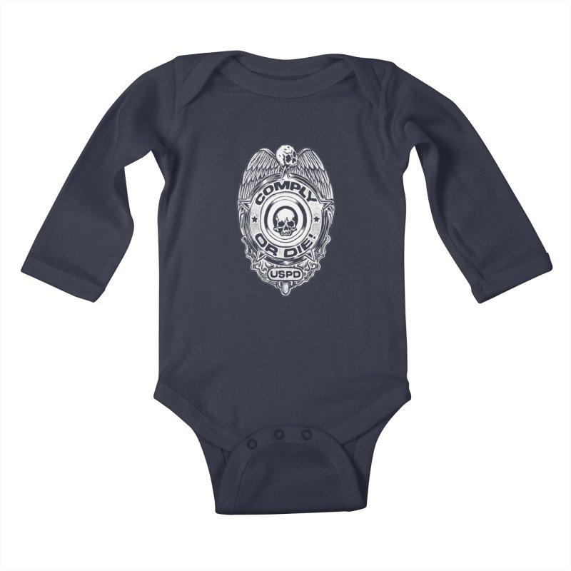 Comply or Die white Kids Baby Longsleeve Bodysuit by sp3ktr's Artist Shop