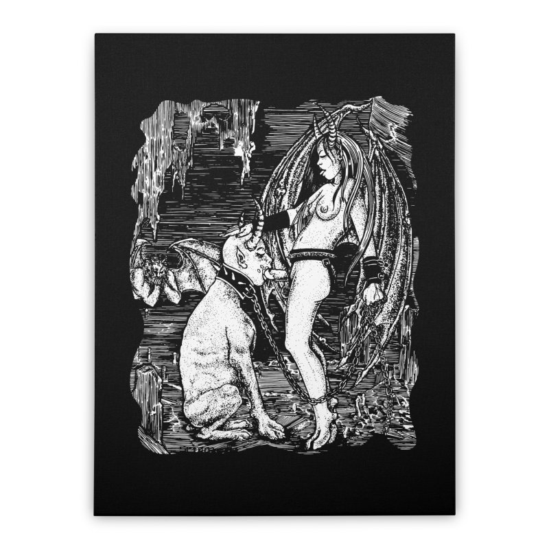 give a dog a bone Home Stretched Canvas by Sp3ktr's Artist Shop