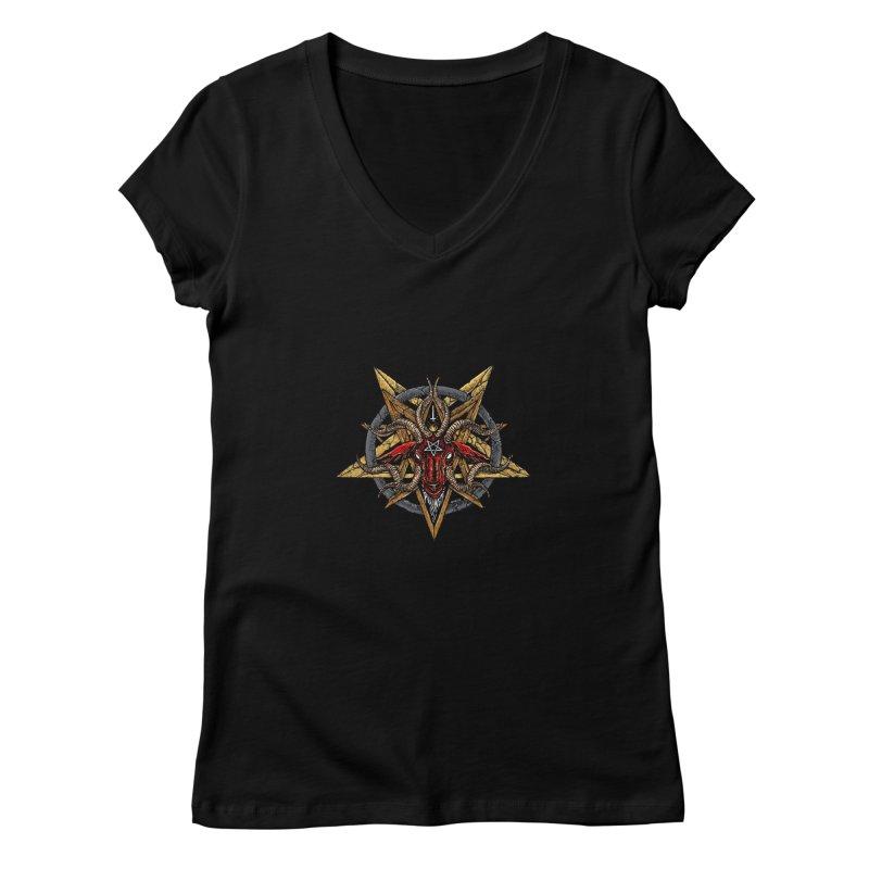 devil-satanic-hornedgod-demonic-blackmetal-punkrock-occult-tapestry Women's V-Neck by Sp3ktr's Artist Shop
