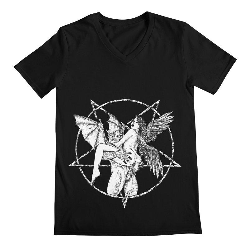 demonic cuddle sesh heavy metal occult Men's Regular V-Neck by sp3ktr's Artist Shop