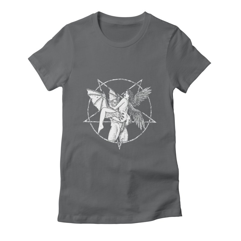 demonic cuddle sesh heavy metal occult Women's Fitted T-Shirt by sp3ktr's Artist Shop