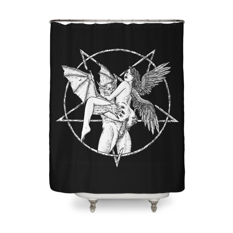 demonic cuddle sesh heavy metal occult Home Shower Curtain by sp3ktr's Artist Shop