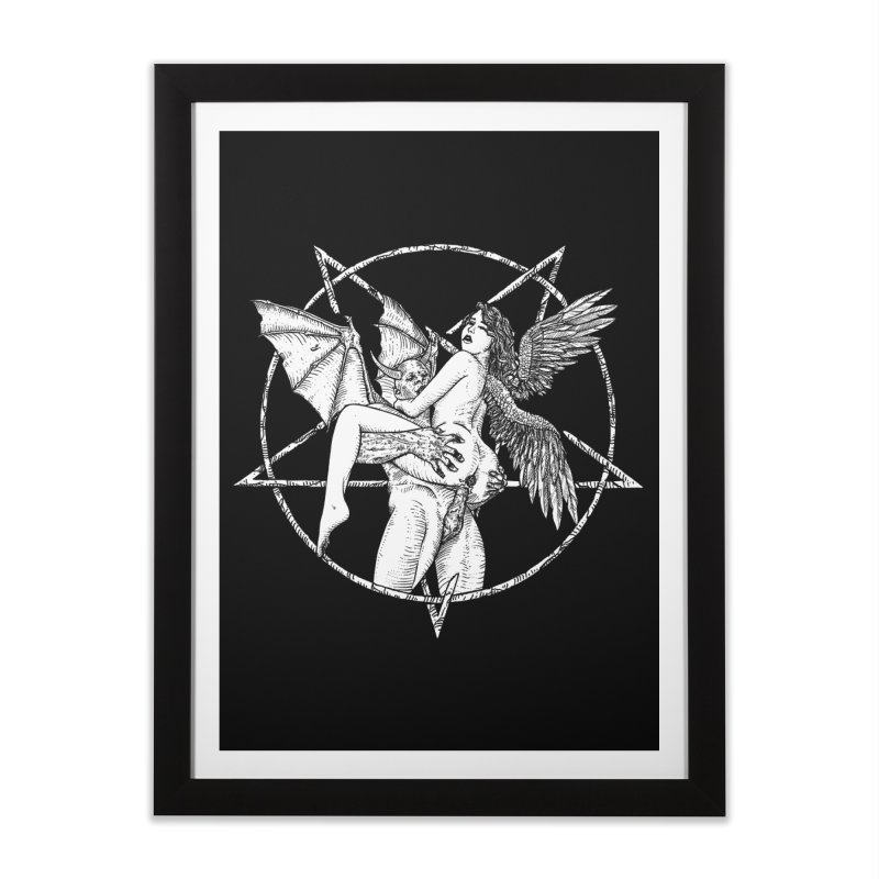 demonic cuddle sesh heavy metal occult Home Framed Fine Art Print by sp3ktr's Artist Shop
