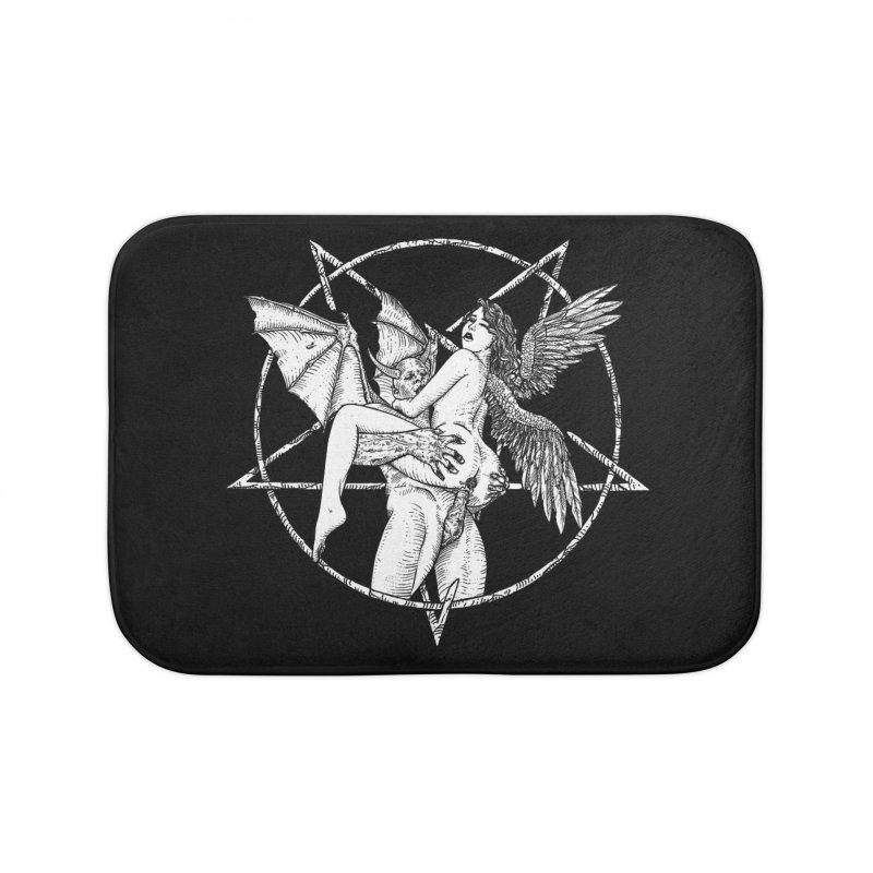 demonic cuddle sesh heavy metal occult Home Bath Mat by sp3ktr's Artist Shop