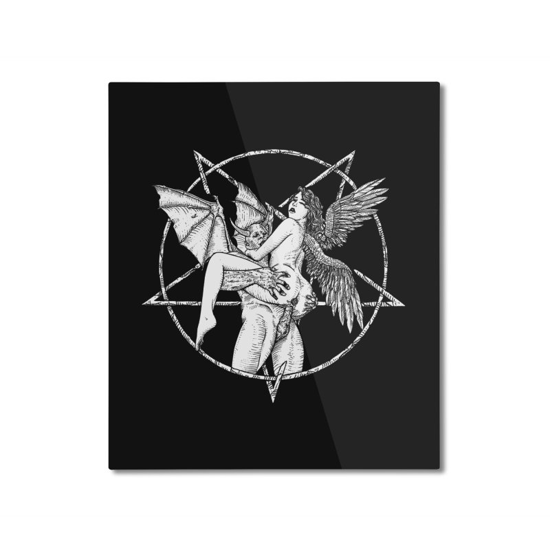 demonic cuddle sesh heavy metal occult Home Mounted Aluminum Print by sp3ktr's Artist Shop