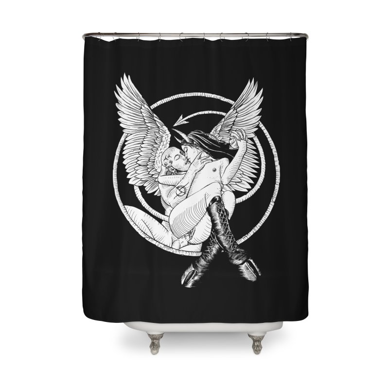 Devil lust black and white Home Shower Curtain by Sp3ktr's Artist Shop