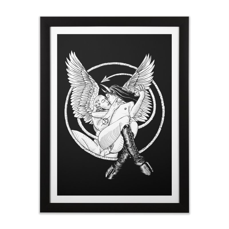 Devil lust black and white Home Framed Fine Art Print by Sp3ktr's Artist Shop