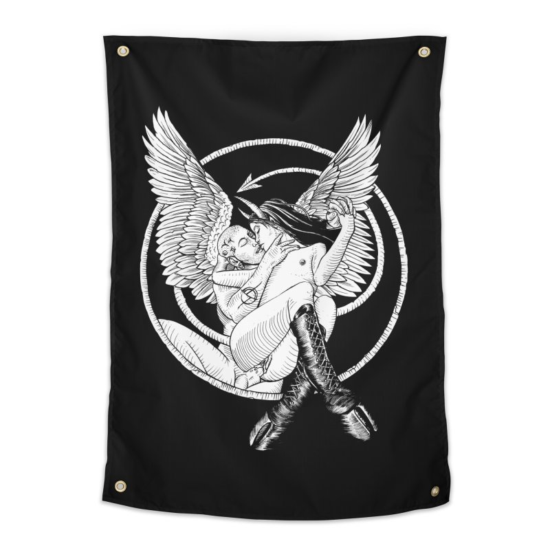 Devil lust black and white Home Tapestry by Sp3ktr's Artist Shop