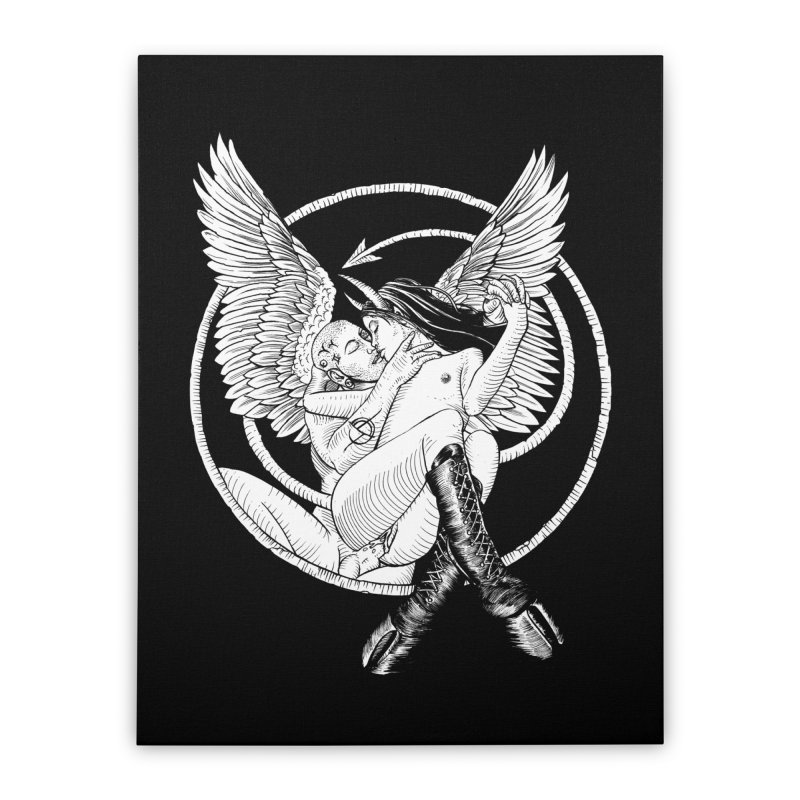 Devil lust black and white Home Stretched Canvas by sp3ktr's Artist Shop