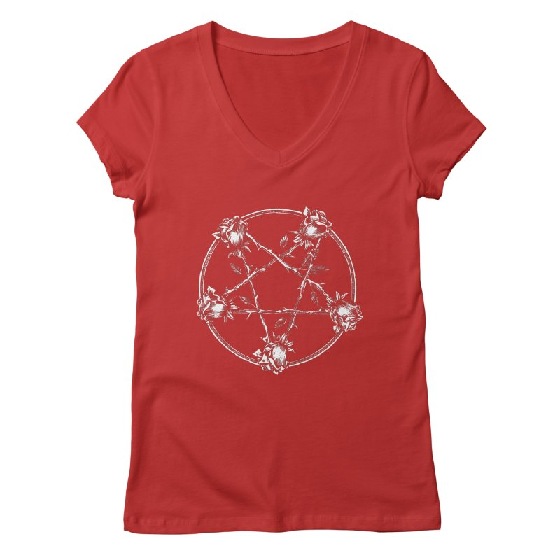 PENTAGRAM ROSE Women's Regular V-Neck by Sp3ktr's Artist Shop