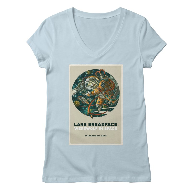 Lars Breaxface Cover - Joe Mruk Women's Regular V-Neck by Spaceboy Books LLC's Artist Shop