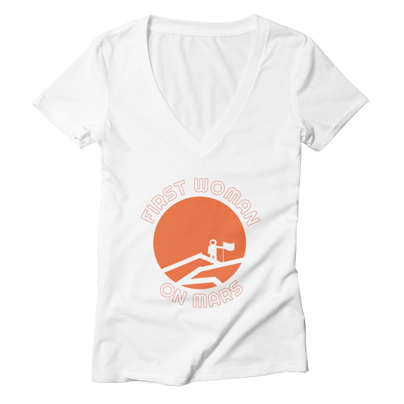 First Woman on Mars Women's Deep V-Neck V-Neck by Spaceboy Books LLC's Artist Shop