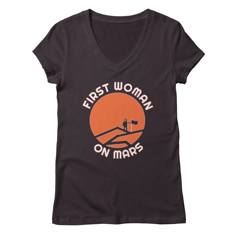 First Woman on Mars Women's Regular V-Neck by Spaceboy Books LLC's Artist Shop
