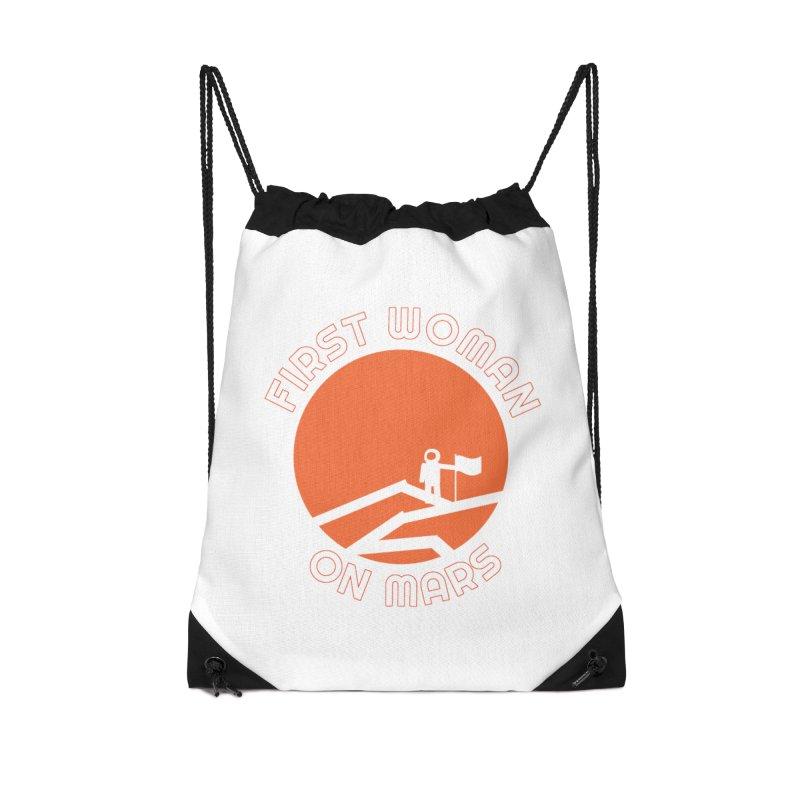 First Woman on Mars Accessories Drawstring Bag Bag by Spaceboy Books LLC's Artist Shop