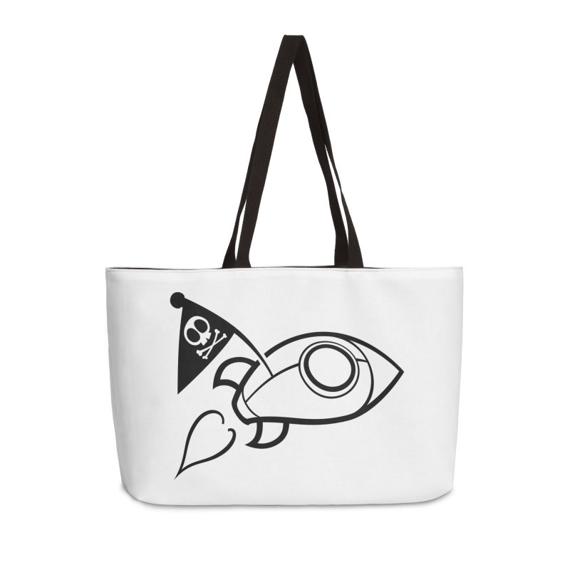 Spaceboy Books Rocket B&W Accessories Weekender Bag Bag by Spaceboy Books LLC's Artist Shop