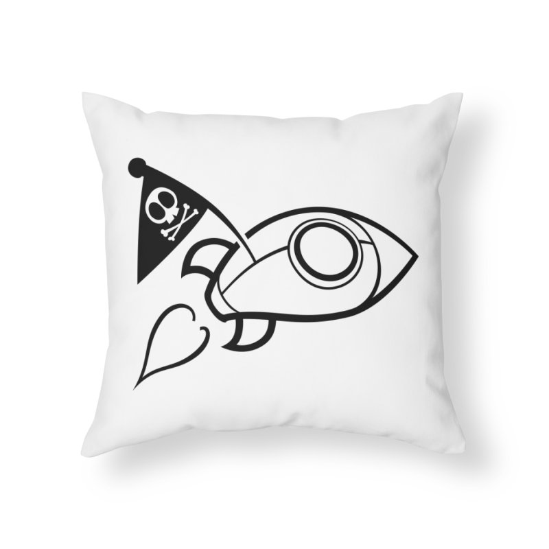 Spaceboy Books Rocket B&W Home Throw Pillow by Spaceboy Books LLC's Artist Shop
