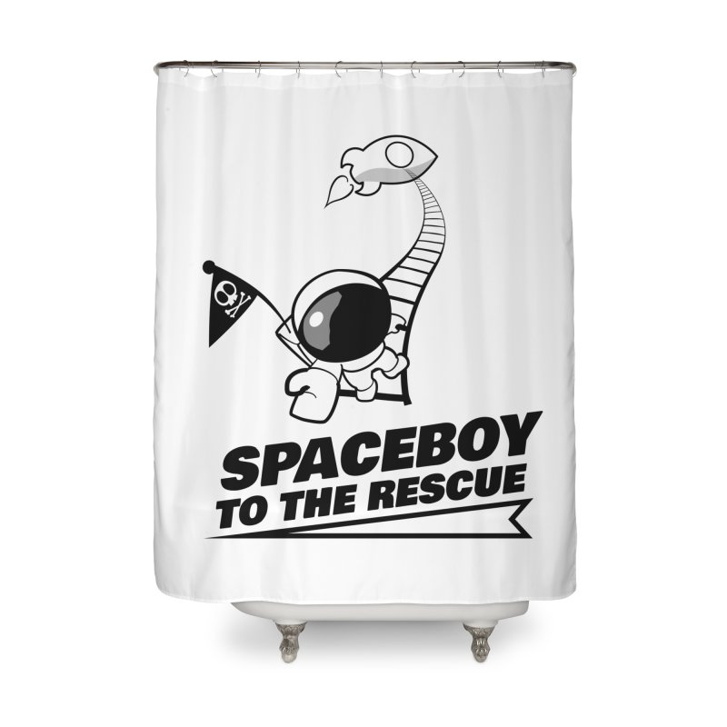 Spaceboy To The Rescue B&W Home Shower Curtain by Spaceboy Books LLC's Artist Shop