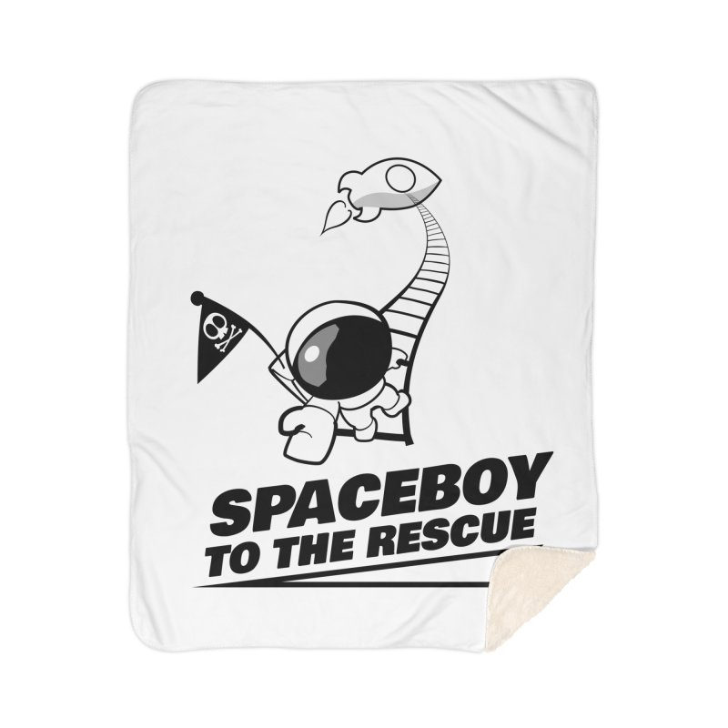 Spaceboy To The Rescue B&W Home Sherpa Blanket Blanket by Spaceboy Books LLC's Artist Shop