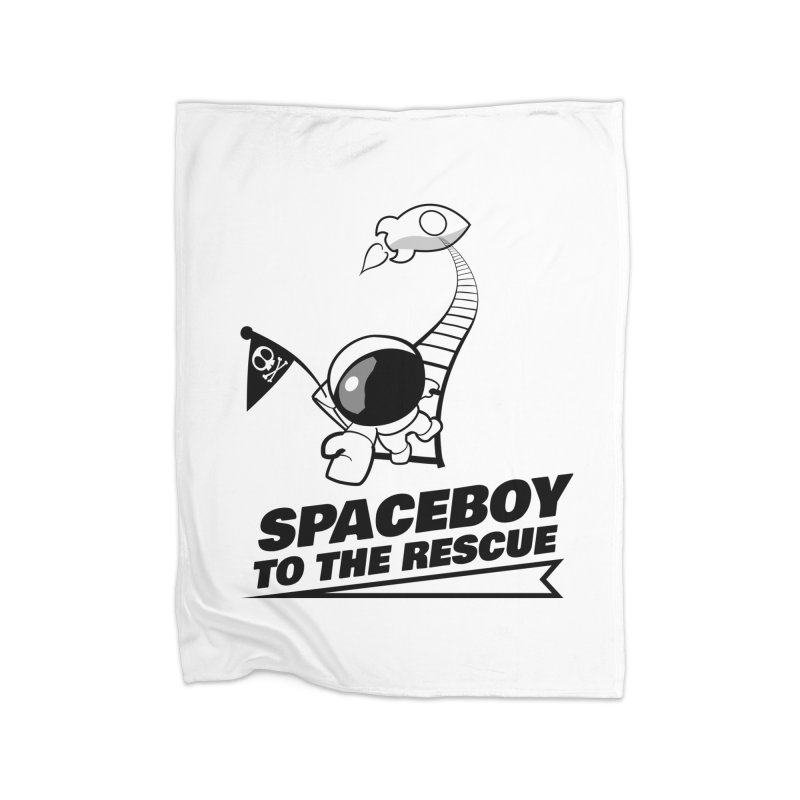 Spaceboy To The Rescue B&W Home Fleece Blanket Blanket by Spaceboy Books LLC's Artist Shop