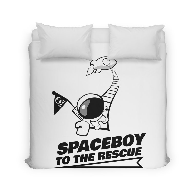 Spaceboy To The Rescue B&W Home Duvet by Spaceboy Books LLC's Artist Shop