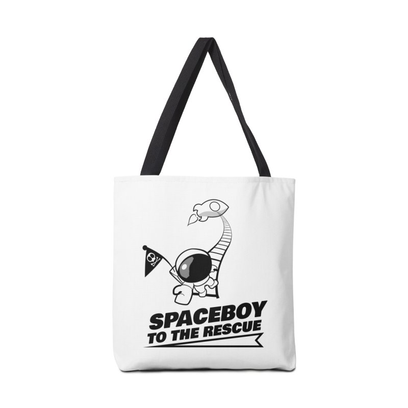 Spaceboy To The Rescue B&W Accessories Tote Bag Bag by Spaceboy Books LLC's Artist Shop