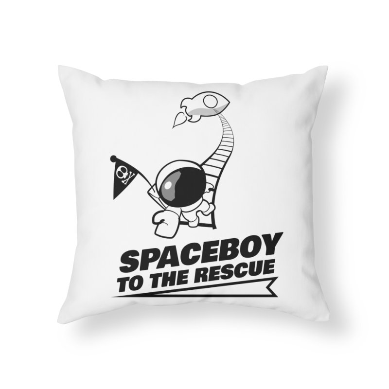 Spaceboy To The Rescue B&W Home Throw Pillow by Spaceboy Books LLC's Artist Shop