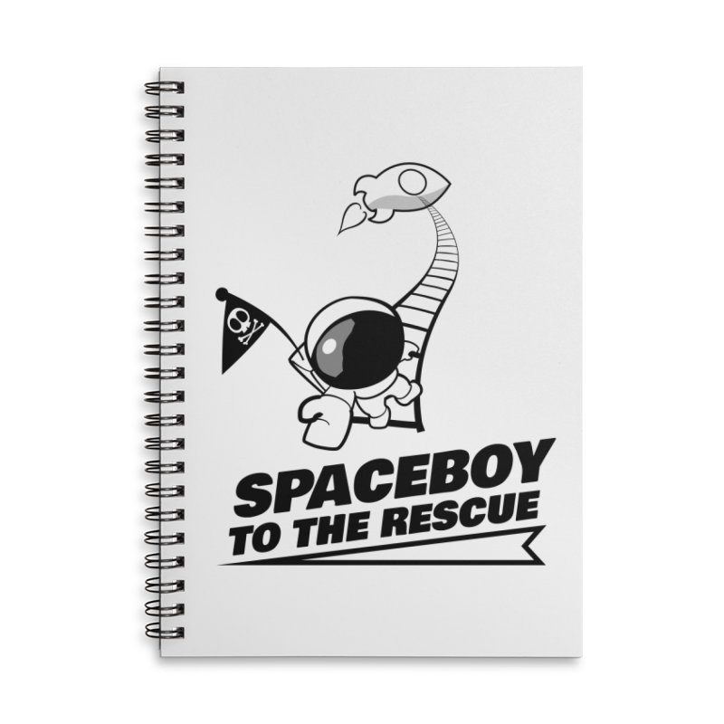 Spaceboy To The Rescue B&W Accessories Lined Spiral Notebook by Spaceboy Books LLC's Artist Shop