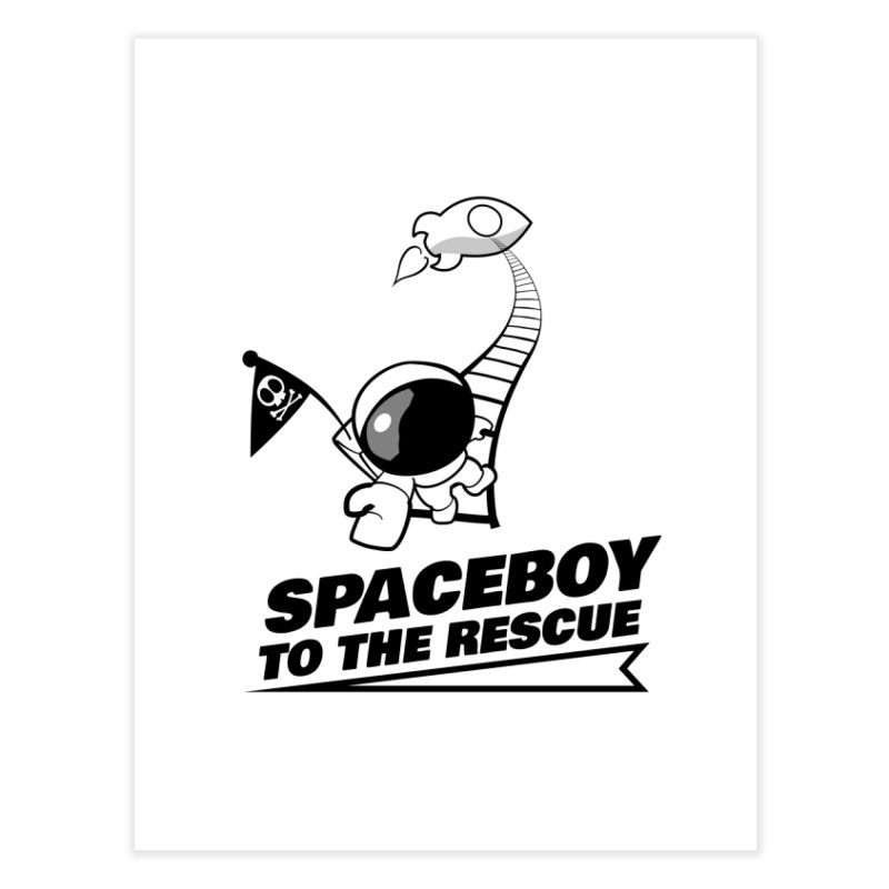 Spaceboy To The Rescue B&W Home Fine Art Print by Spaceboy Books LLC's Artist Shop