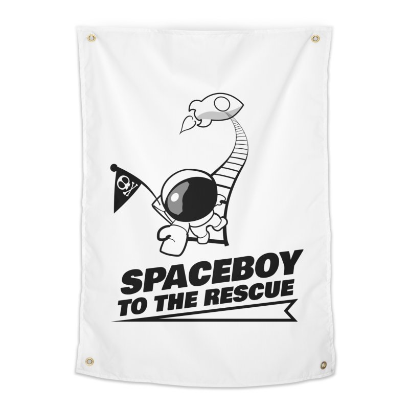 Spaceboy To The Rescue B&W Home Tapestry by Spaceboy Books LLC's Artist Shop