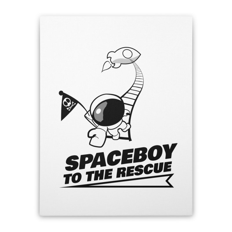 Spaceboy To The Rescue B&W Home Stretched Canvas by Spaceboy Books LLC's Artist Shop