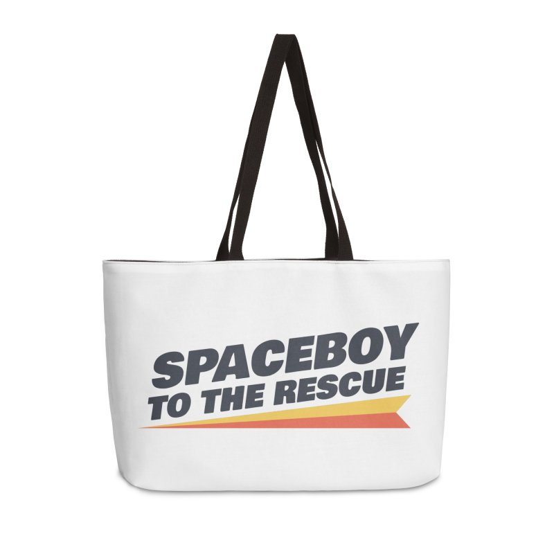 Spaceboy To The Rescue Text  Accessories Weekender Bag Bag by Spaceboy Books LLC's Artist Shop
