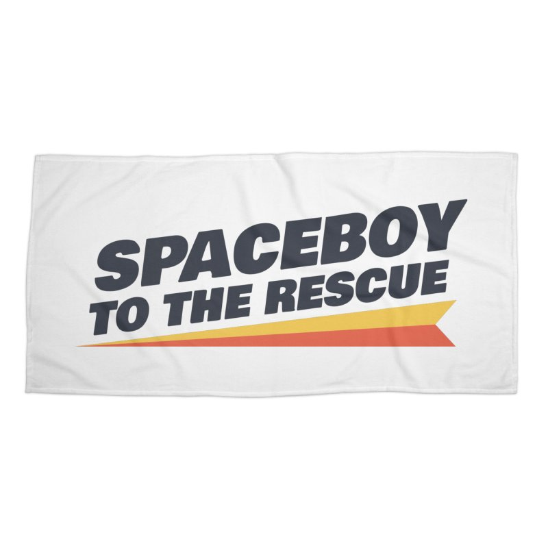 Spaceboy To The Rescue Text  Accessories Beach Towel by Spaceboy Books LLC's Artist Shop