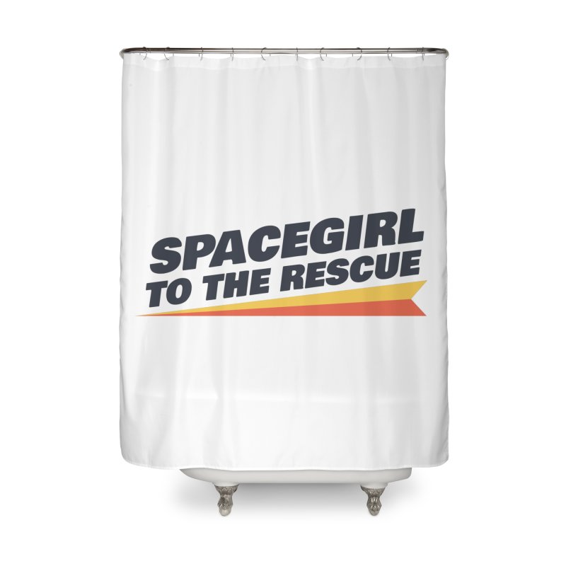 Spacegirl to the Rescue Wordmark Home Shower Curtain by Spaceboy Books LLC's Artist Shop