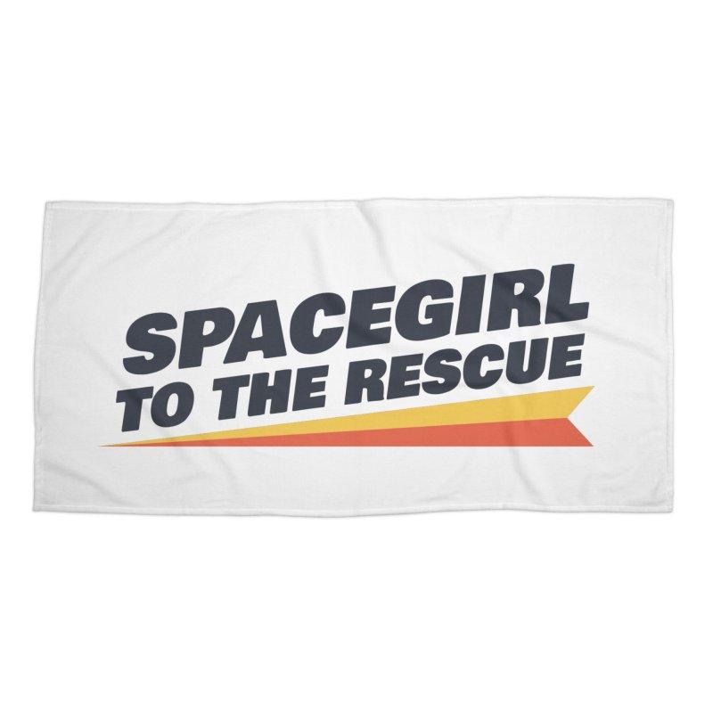 Spacegirl to the Rescue Wordmark Accessories Beach Towel by Spaceboy Books LLC's Artist Shop