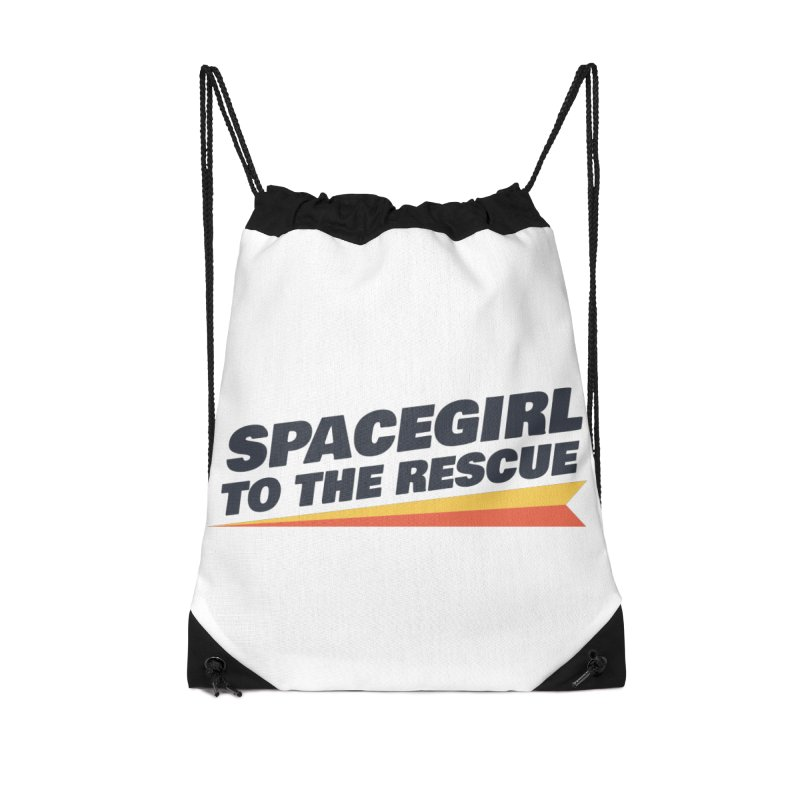 Spacegirl to the Rescue Wordmark Accessories Drawstring Bag Bag by Spaceboy Books LLC's Artist Shop
