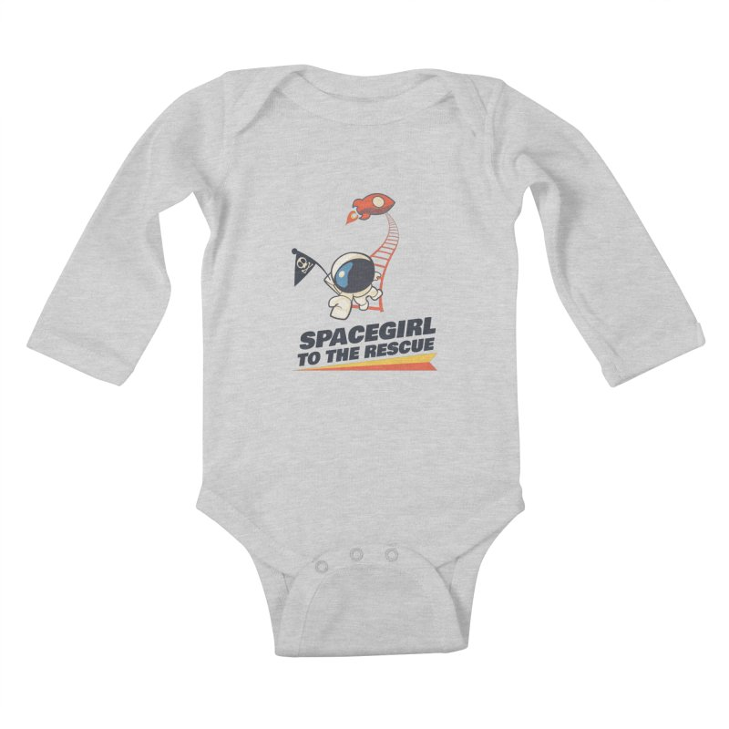 Spacegirl To The Rescue - Small Kids Baby Longsleeve Bodysuit by Spaceboy Books LLC's Artist Shop