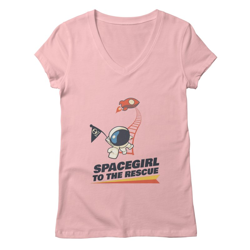 Spacegirl To The Rescue - Small Women's Regular V-Neck by Spaceboy Books LLC's Artist Shop