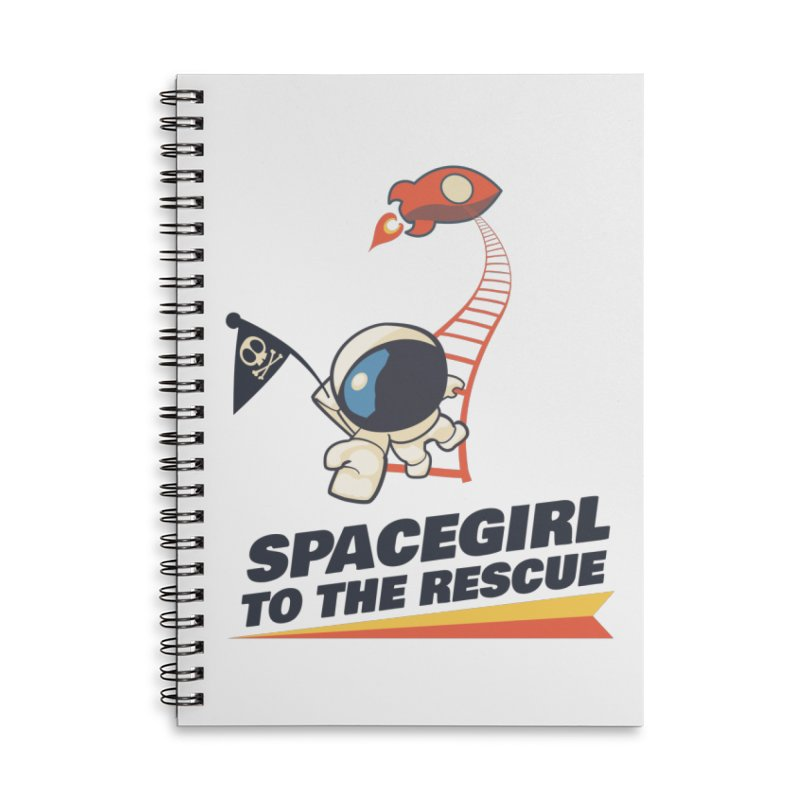 Spacegirl To The Rescue - Small Accessories Lined Spiral Notebook by Spaceboy Books LLC's Artist Shop