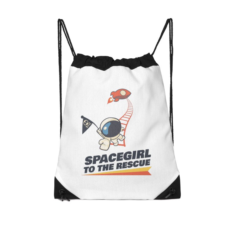 Spacegirl To The Rescue - Small Accessories Drawstring Bag Bag by Spaceboy Books LLC's Artist Shop