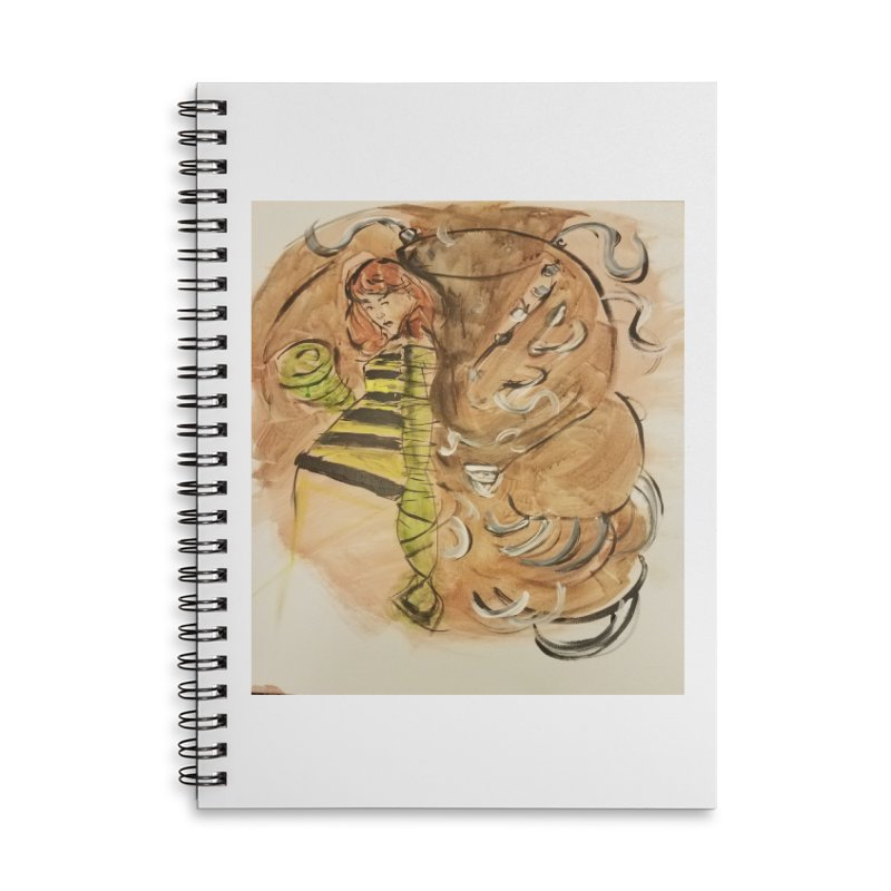 Margo Chicago fights a Tardigrade - Leech Girl Lives Accessories Lined Spiral Notebook by Spaceboy Books LLC's Artist Shop