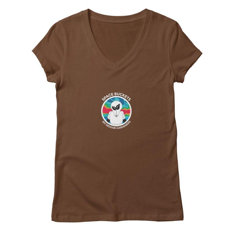 SB logo white Women's V-Neck by spacebuckets's Artist Shop