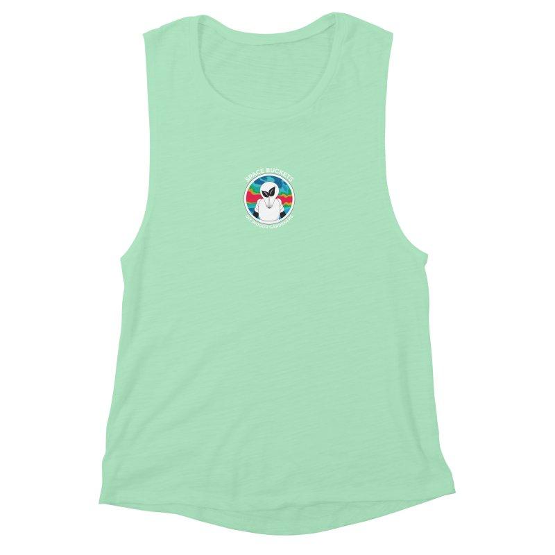 SB logo white Women's Muscle Tank by spacebuckets's Artist Shop