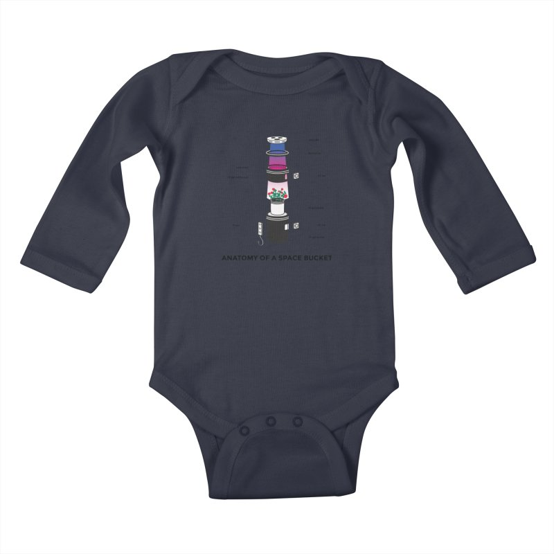 Anatomy of a Space Bucket Kids Baby Longsleeve Bodysuit by spacebuckets's Artist Shop