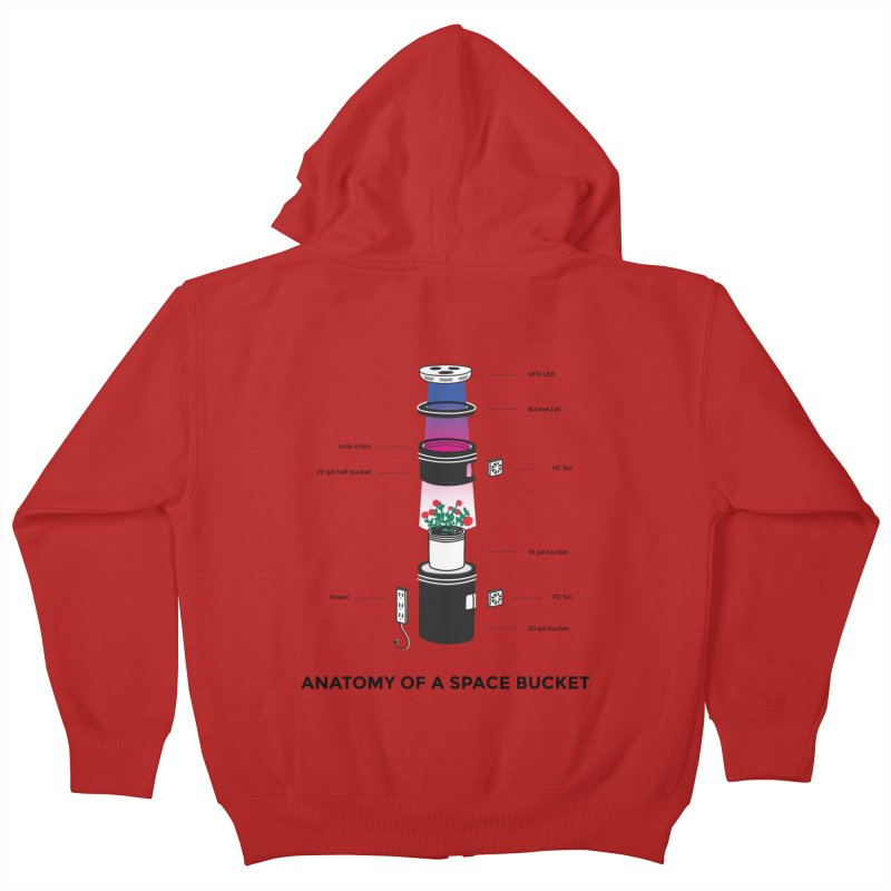 Anatomy of a Space Bucket Kids Zip-Up Hoody by spacebuckets's Artist Shop