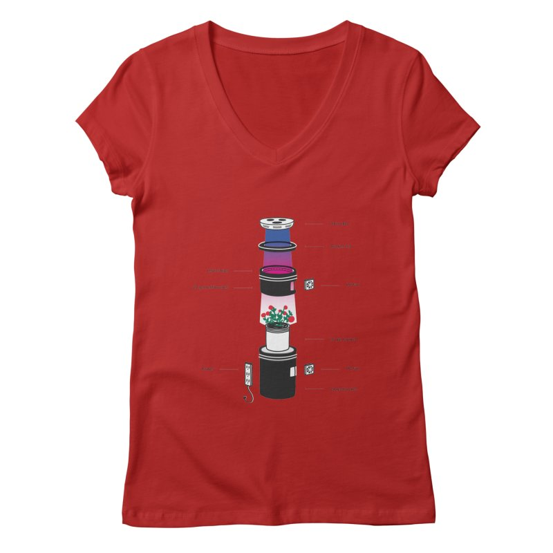 Anatomy of a Space Bucket - no title Women's V-Neck by spacebuckets's Artist Shop