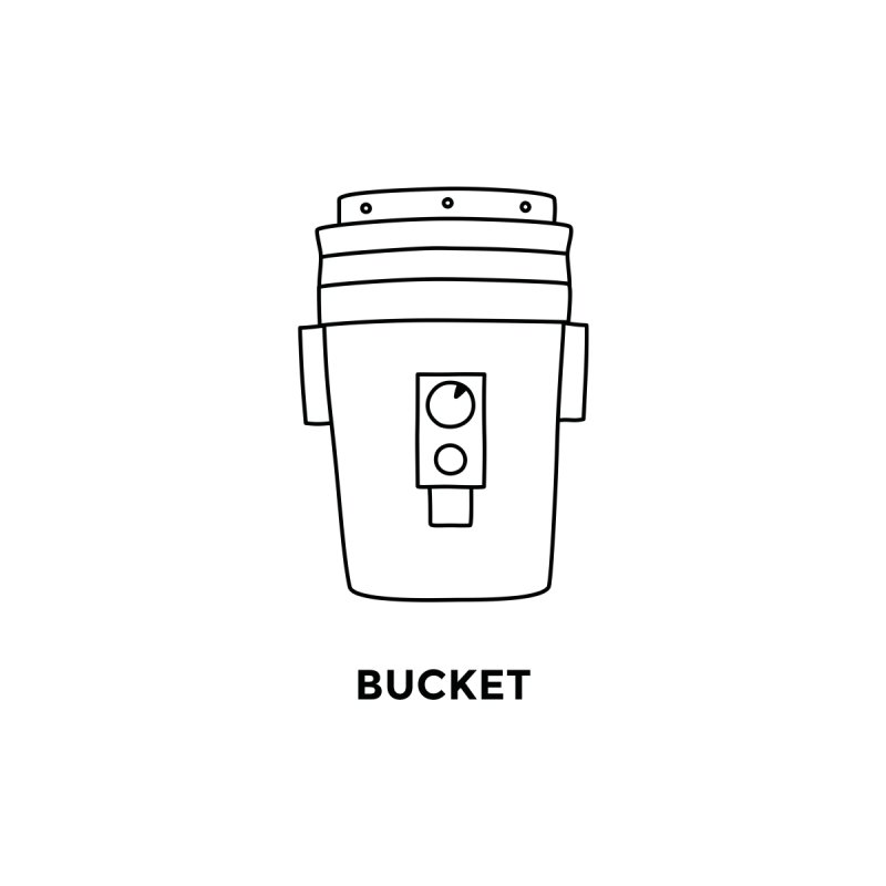 Space Bucket - 20 gal Bucket Home Stretched Canvas by spacebuckets's Artist Shop
