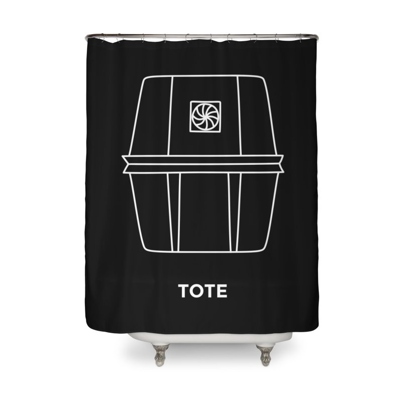 Tote Space Bucket - white Home Shower Curtain by spacebuckets's Artist Shop