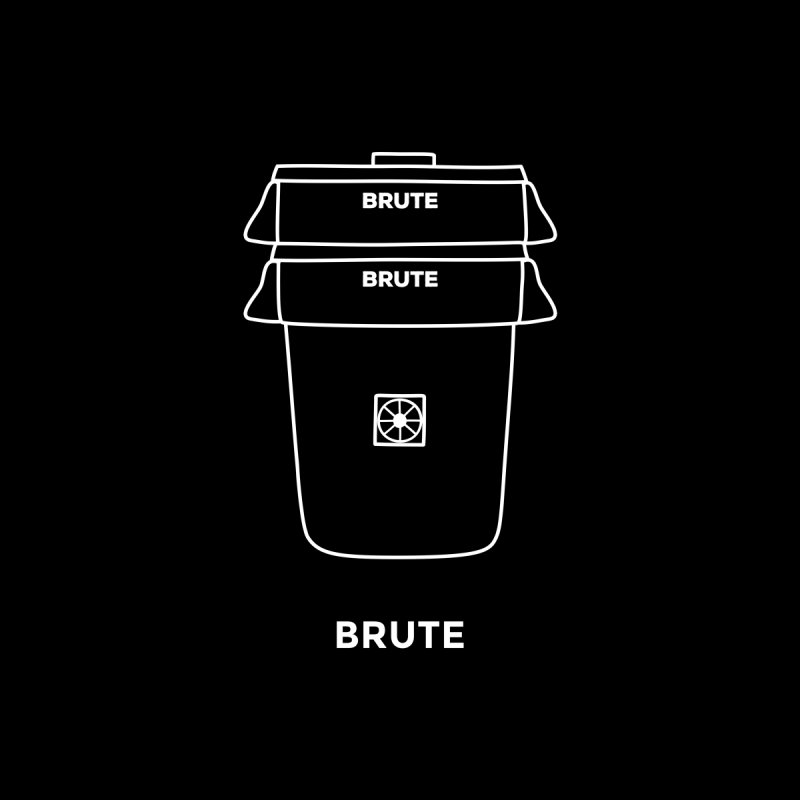 Brute Space Bucket - white Home Stretched Canvas by spacebuckets's Artist Shop